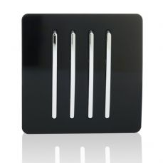 Trendi 4 Gang 1 Way Artistic Modern Glossy 10 Amp Rocker Tactile Light Switch Piano Black ART-SS7BK